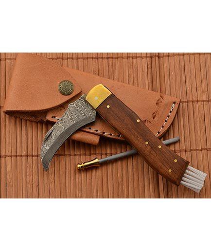 Exkluzívny hubársky nôž damaškový ručne robený so záštitou 2