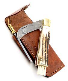 Exkluzívny hubársky nôž damaškový s jelením parohom ručne robený so záštitou