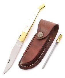 Set - nôž Laguiole ťavia kosť, kožené puzdro a ocieľka